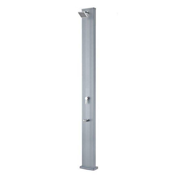 Szolárzuhany egyenes, aluminium, lábmosóval ezüst 28L