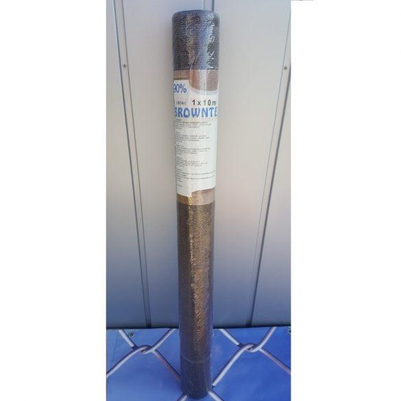 Árnyékoló háló medence fölé, kerítésre, BROWNTEX  1x10m barna 90%-os takarás