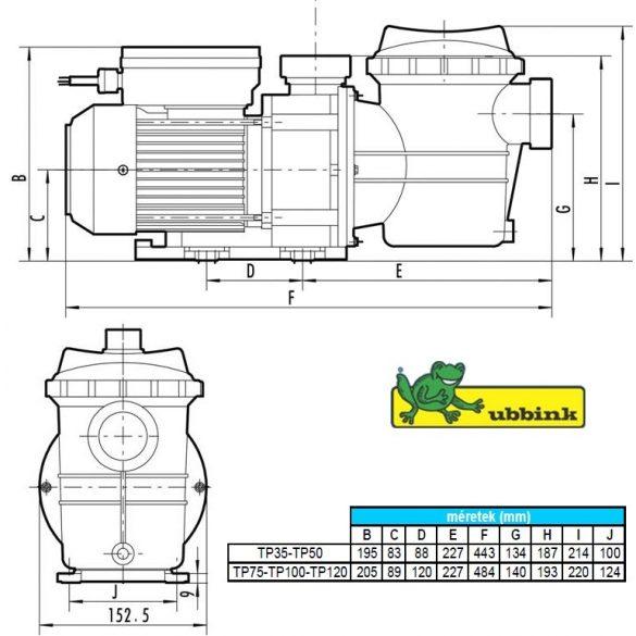 Poolmax TP 120, Medence szivattyú, 18 m3/h (Ubbink)