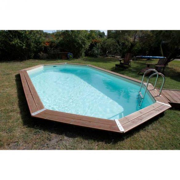 Luxus medence szett Ocea 400x610x130cm kék fóliával (homokszűrővel)