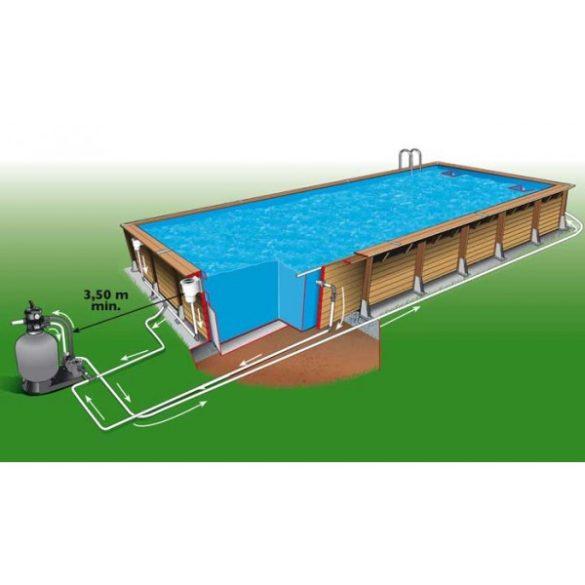 Luxus medence szett Linea 500x1100x140 cm kék fóliával (homokszűrővel)