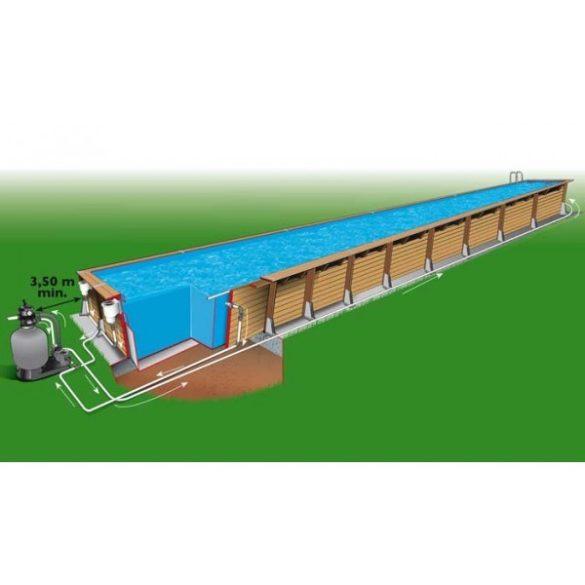 Luxus medence szett Linea 350x1550x155cm kék fóliával (homokszűrővel)