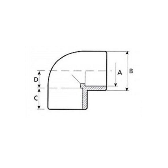 PVC idom, 90 fokos könyök, D63 mm