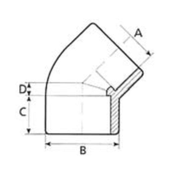 PVC idom, 45 fokos könyök, D75 mm