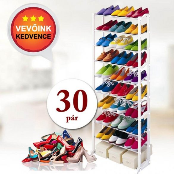 10 soros cipőtároló - fehér,139 x 16,5 x 51 cm, műanyag és fém