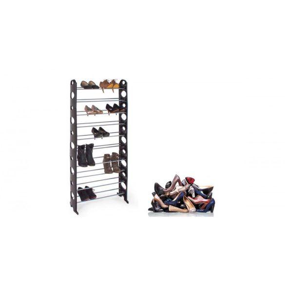 10 soros cipőtároló- fekete, 156 cm x 64,5 cm x 18 cm, fekete, fém és műanyag
