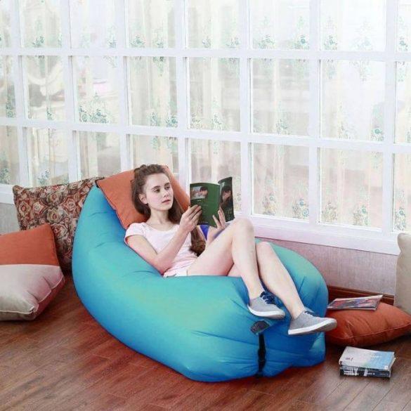 Levegővel tölthető relax ágy, kék