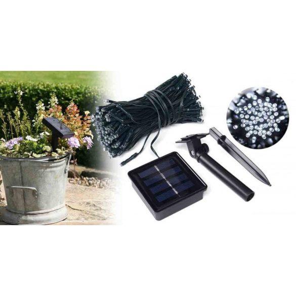100 LED-es napelemes kerti fényfüzér, melegfehér, 11,40 m