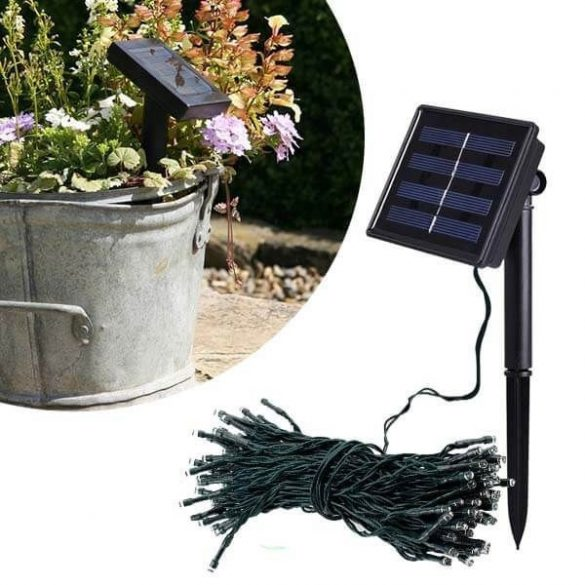 100 LED-es napelemes kerti fényfüzér, hidegfehér, 20 m
