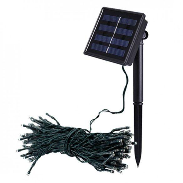 100 LED-es napelemes kerti fényfüzér, melegfehér, 20 m