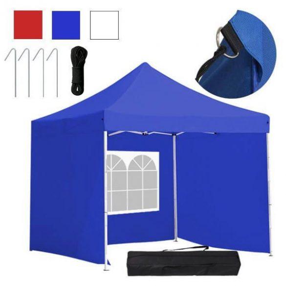 Kerti pavilon, összecsukható 3 fallal és hordtáskával 3x3 m, kék