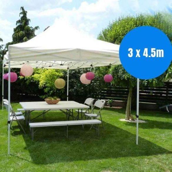 Prémium kerti pavilon, összecsukható 3x4,5 m, hordtáskával, fehér
