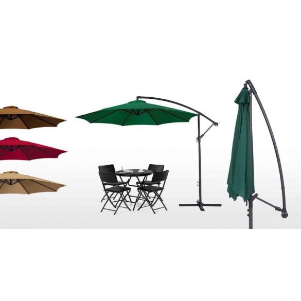 Függő napernyő, 2,7m, zöld
