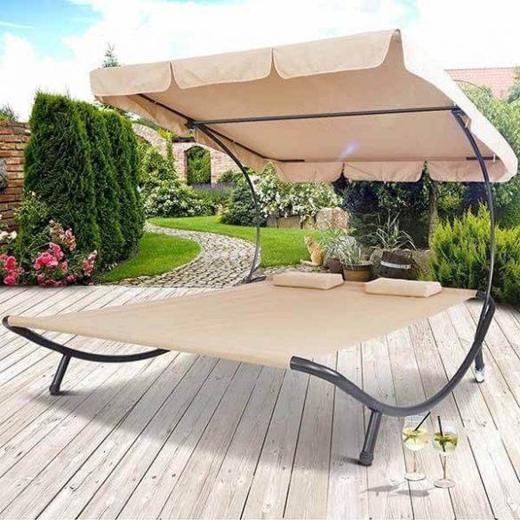 Napozó ágy napernyővel, világos barna
