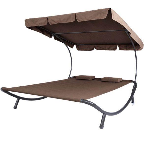 Napozó ágy napernyővel, sötét barna