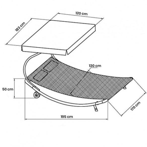 Napozó ágy napernyővel, mélybarna