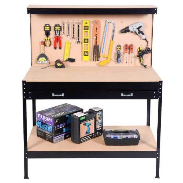 Munkapad, garázsba, műhelybe, MDF lap, fiókos, polcos, akasztós, 120 x 60 x 150 cm