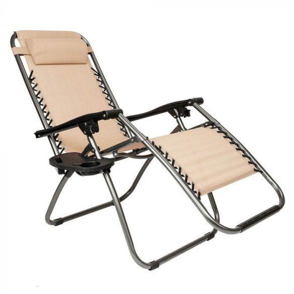 Zéró gravitáció kerti szék ajándék pohártartóval, 2 db-bézs