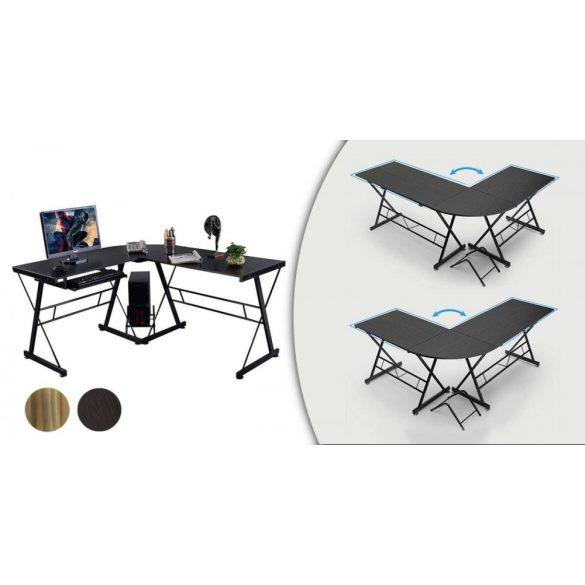 L alakú íróasztal, fekete