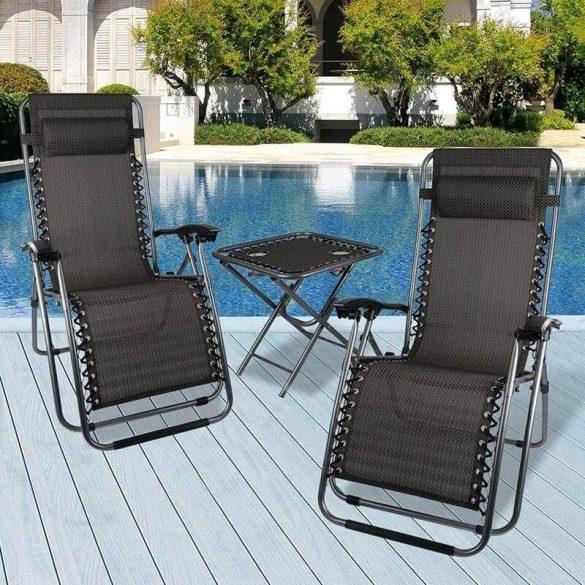 Zéró gravitáció kerti szék, ajándék pohártartóval 2 db