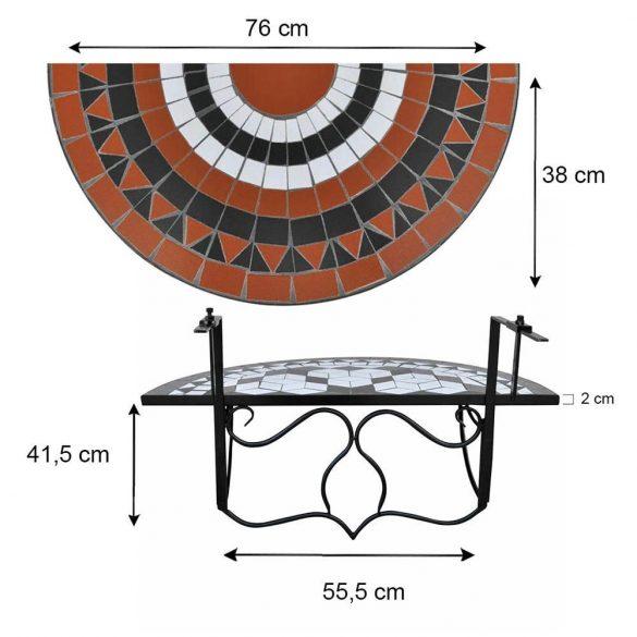 Lehajtható balkon asztal - fekete