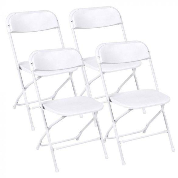 4 db műanyag, összecsukható szék, fehér színben