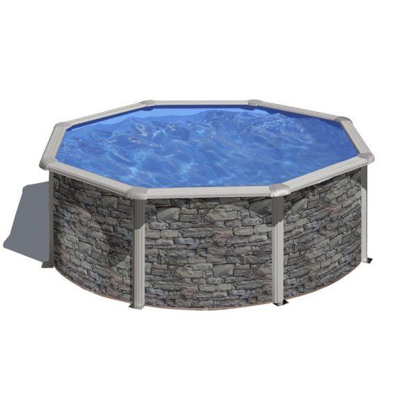 Gre kőmintás fémpalástos medence szett, vízforgatóval és létrával, D350 x 120 cm
