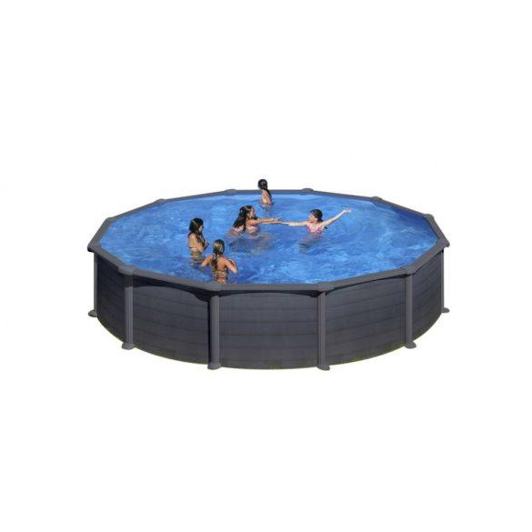 Gre graphite fémpalástos medence szett, vízforgatóval és létrával, D460 x 120 cm