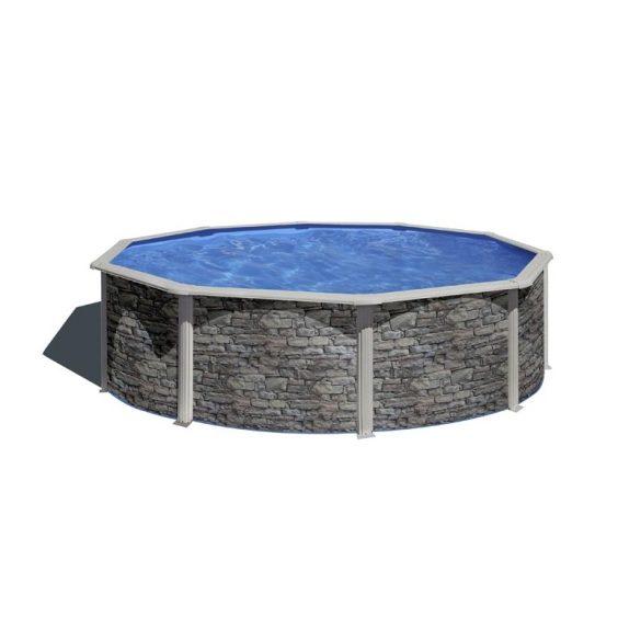 Gre kőmintás fémpalástos medence szett, vízforgatóval és létrával, D460 x 120 cm