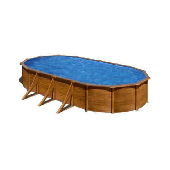 Gre famintás ovális fémpalástos medence szett, vízforgatóval és létrával, 500 x 300 x 120 cm