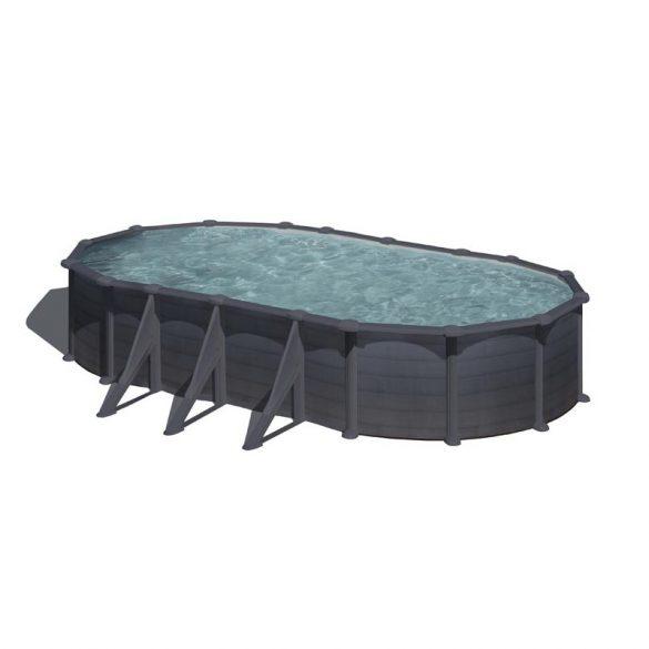 Gre graphite ovális fémpalástos medence szett, vízforgatóval és létrával, 610 x 375 x 120 cm