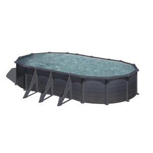 Gre graphite ovális fémpalástos medence szett, vízforgatóval és létrával, 730 x 375 x 120 cm