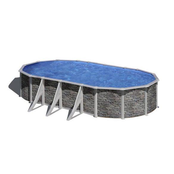 Gre rock ovális fémpalástos medence szett, vízforgatóval és létrával, 730 x 375 x 120 cm