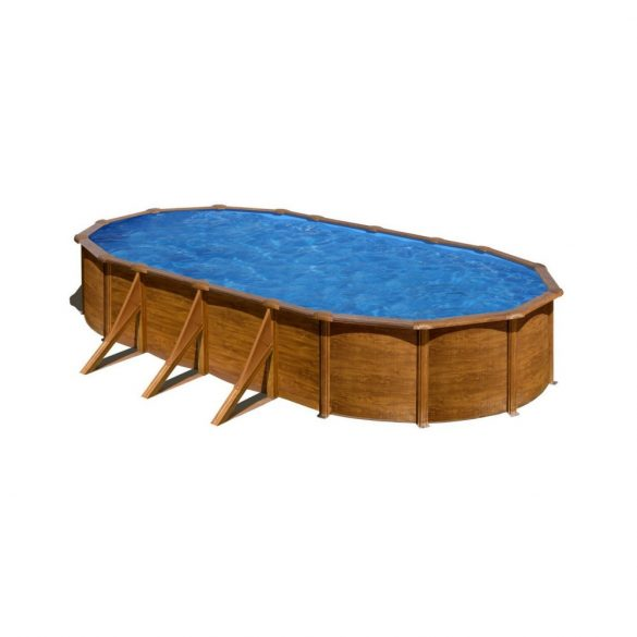 Gre famintás ovális fémpalástos medence szett, vízforgatóval és létrával, 730 x 375 x 120 cm