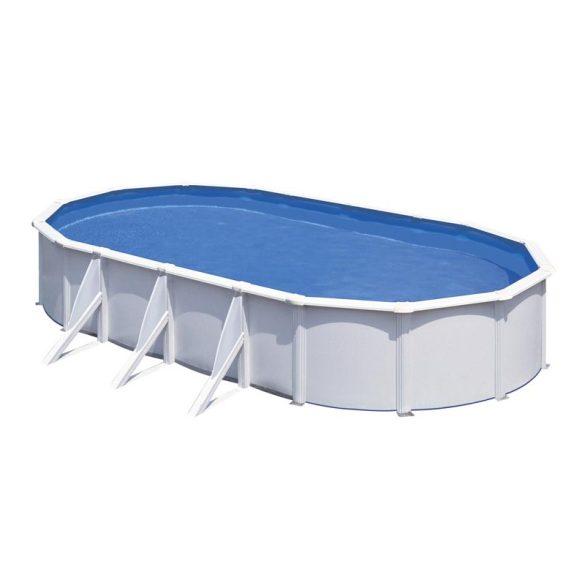Gre fehér ovális fémpalástos medence szett, vízforgatóval és létrával, 800 x 470 x 120 cm