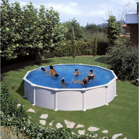 Gre fémpalástos medence szett, vízforgatóval és létrával, D460 x 132 cm