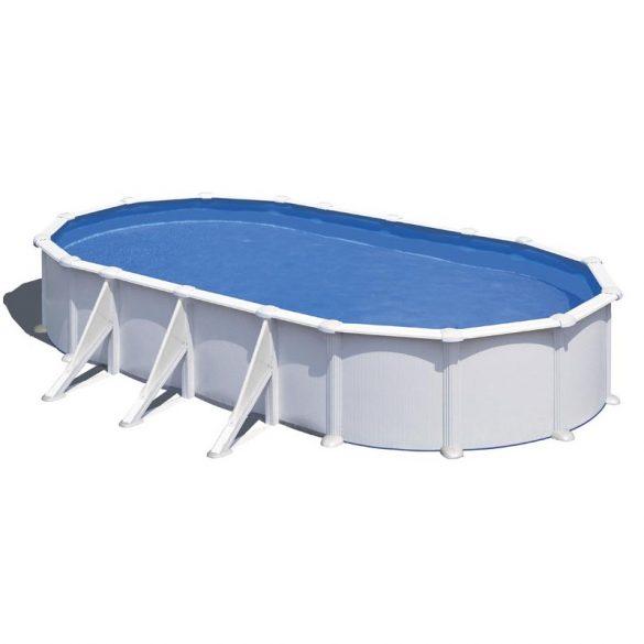 Gre ovális fémpalástos medence szett, vízforgatóval és létrával, 730 x 375 x 132 cm