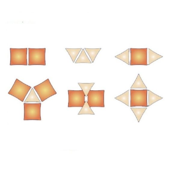 Napvitorla 5x5x5 háromszög alakú homok színű 230g/m2