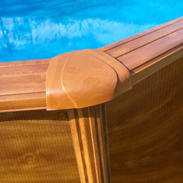 Gre famintás ovális fémpalástos medence acélgerenda alappal 610 x 375 x 132 cm