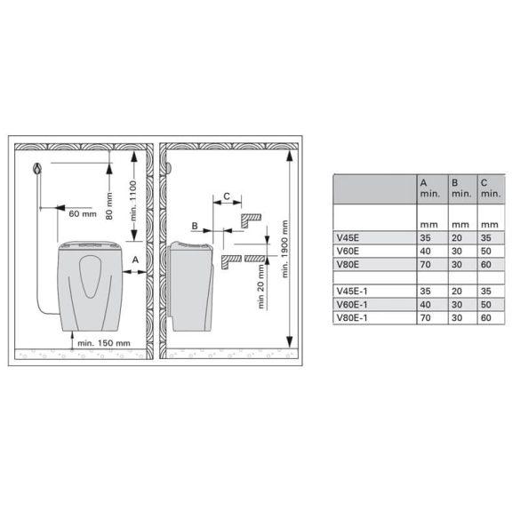 Harvia Moderna titánium szaunakályha szaunába is szerelhető digitális külső vezérlővel V45E 4,5kW