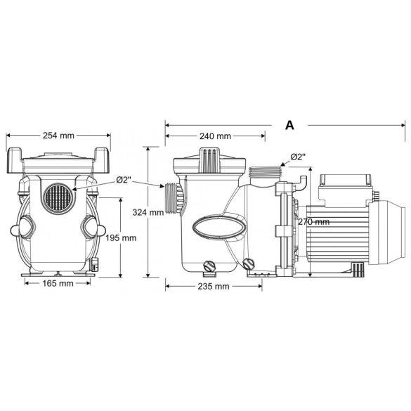 Zodiac FloPro 200T önfelszívó szivattyú, három fázisú, 27 m3/h