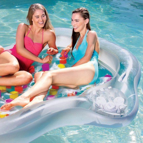 BESTWAY Double Designer Lounge lyukacsos átlátszó/színes kétszemélyes gumimatrac 216 x 178cm (43045)