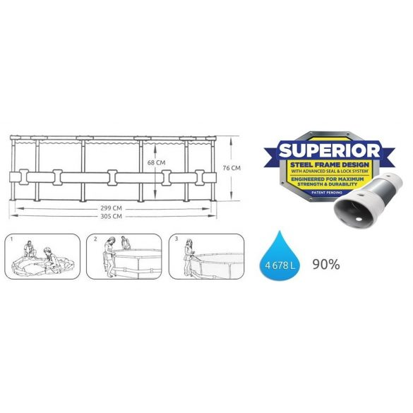 BESTWAY Steel Pro MAX medence D3,05m x 76cm (56406)