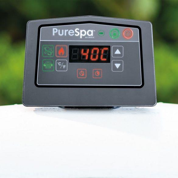 INTEX PureSPA Greywood Deluxe jacuzzi, 6 személyes, kerek, D216 x 71 cm, bézs / fehér (28442)