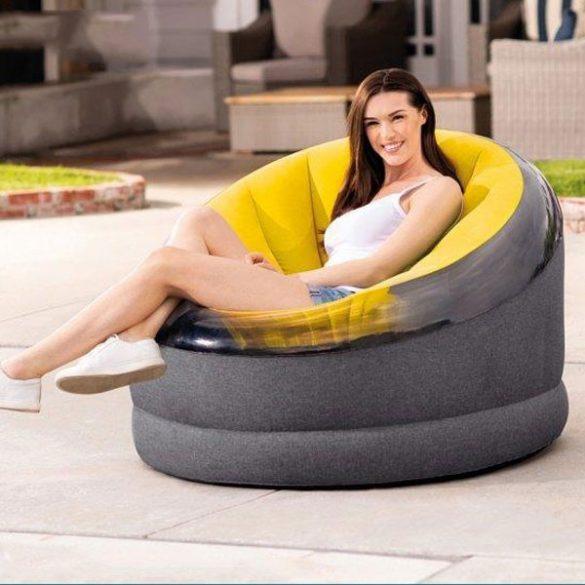 INTEX Empire felfújható fotel, sárga/fekete, 112 x 109 x 69cm (66582)