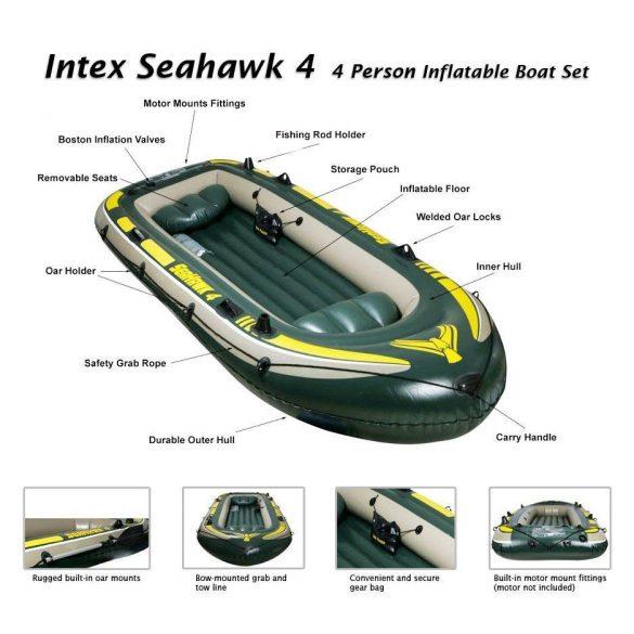 INTEX Seahawk 4 felfújható gumicsónak szett (4 személyes) 351 x 145 x 48cm (68351)