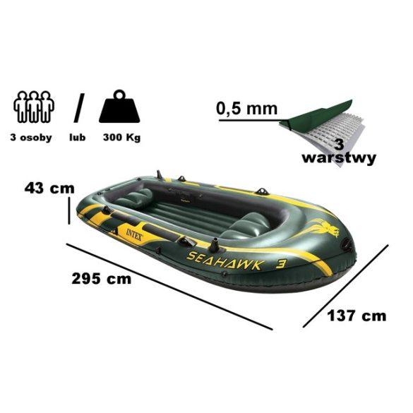 INTEX Seahawk 3 felfújható gumicsónak szett (3 személyes) 295 x 137 x 43cm (68380)