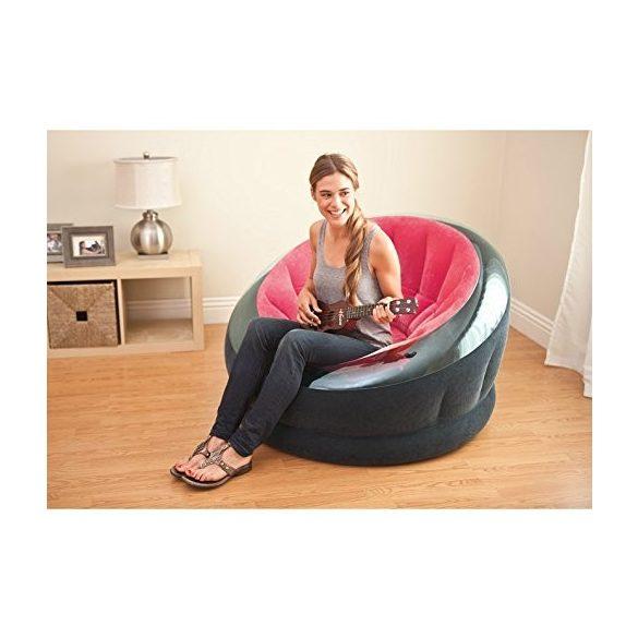 INTEX Empire felfújható fotel, pink/fekete, 112 x 109 x 69cm (68582)