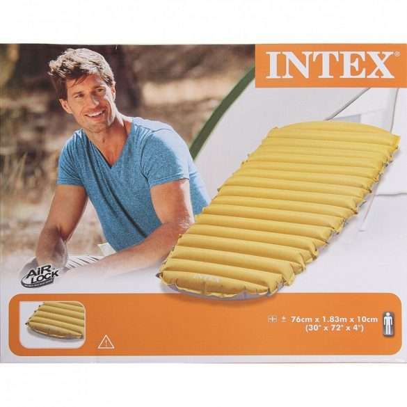 INTEX felfújható kemping matrac, sárga/szürke, 76 x 183 x 10cm (68708)